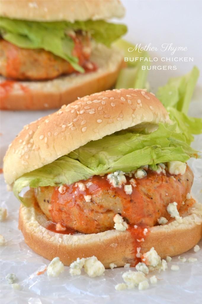 Buffalo Chicken Burgers | www.motherthyme.com