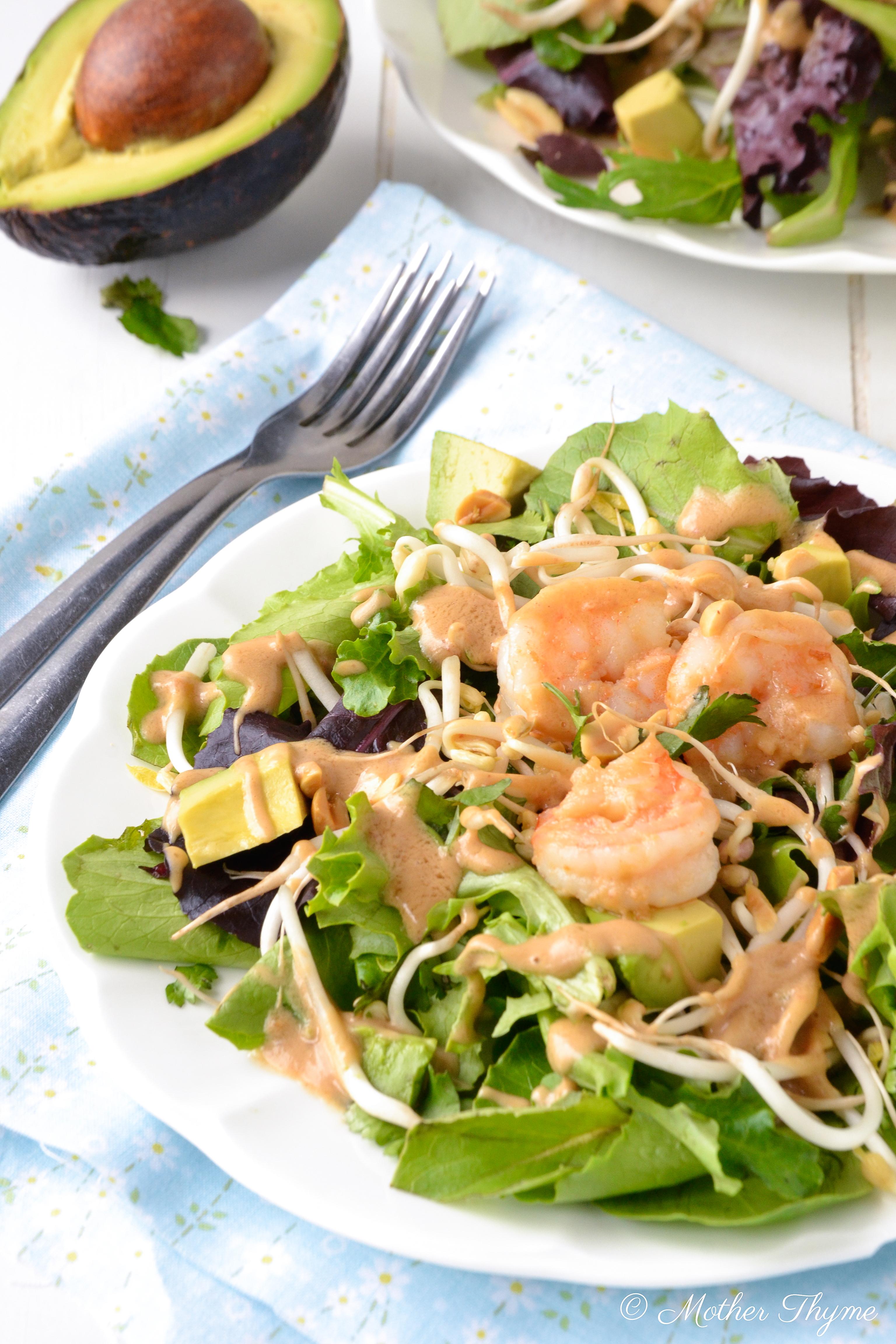 Thai Shrimp Salad with Peanut Dressing | Mother Thyme