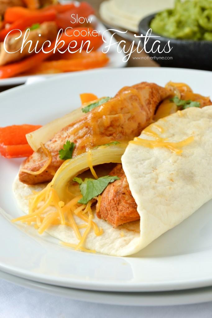 Slow Cooker Chicken Fajitas - www.motherthyme.com