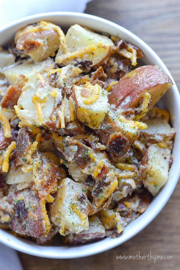 Cheddar Bacon Ranch Potato Salad | Mother Thyme