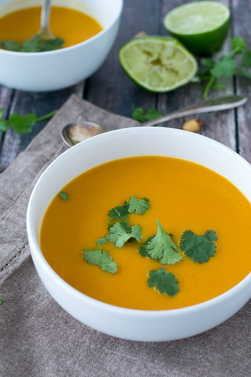 Warm up to a delicious and healthy bowl of Thai Coconut Curry Butternut Squash Soup that is rich, creamy and full of flavor. www.motherthyme.com