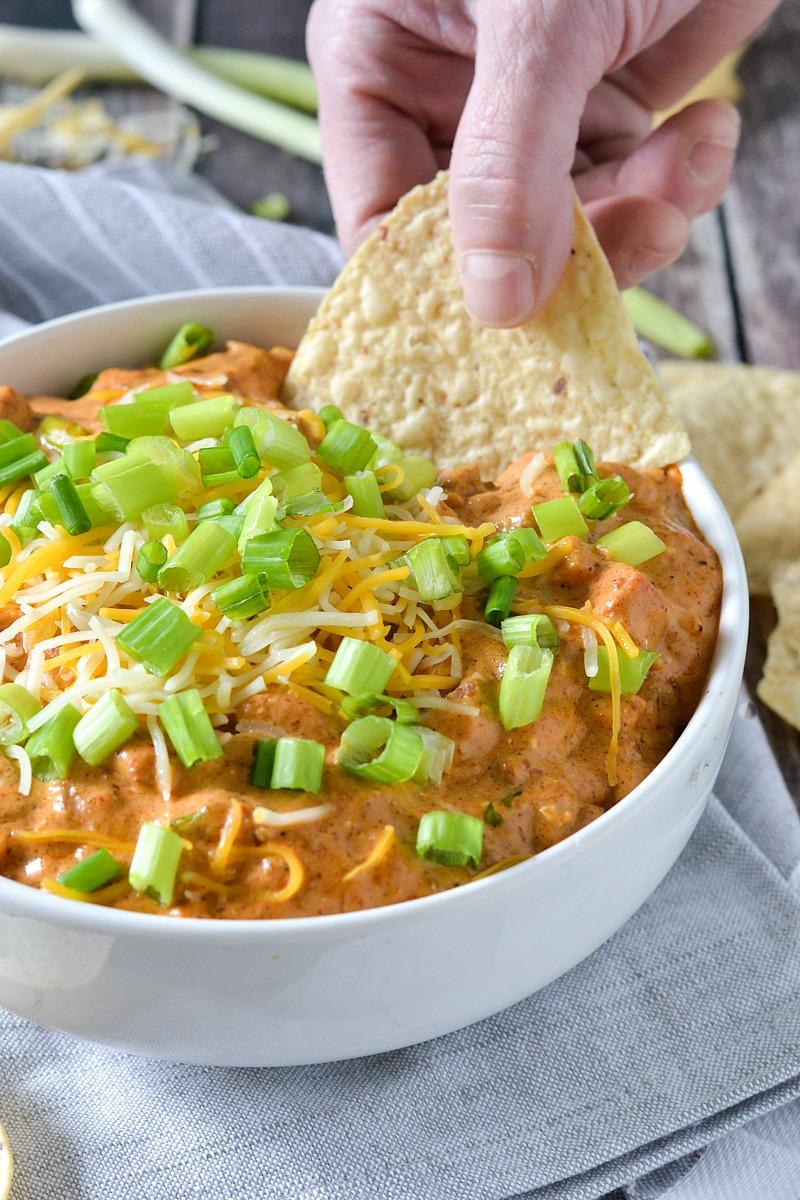 Crock-Pot® Slow Cooker Chili Cheese Dog Dip #crockpotrecipes #ad