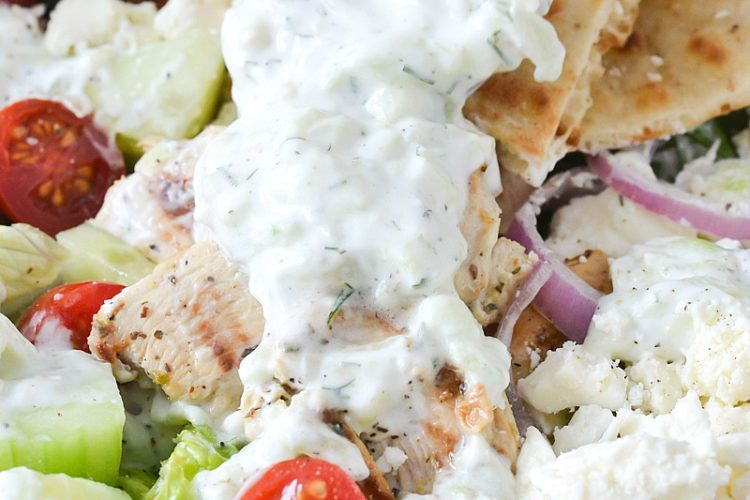Chicken Gyro Salad with Creamy Tzatziki Dressing