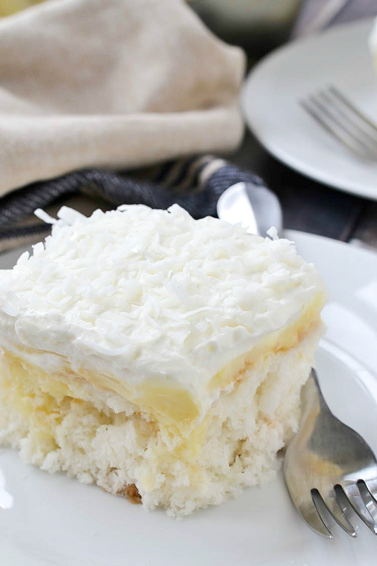 Coconut cream poke cake mother thyme i have a confession to make i love those little pepperidge farm cakes you know the ones that you see in the freezer section at the grocery store publicscrutiny Image collections