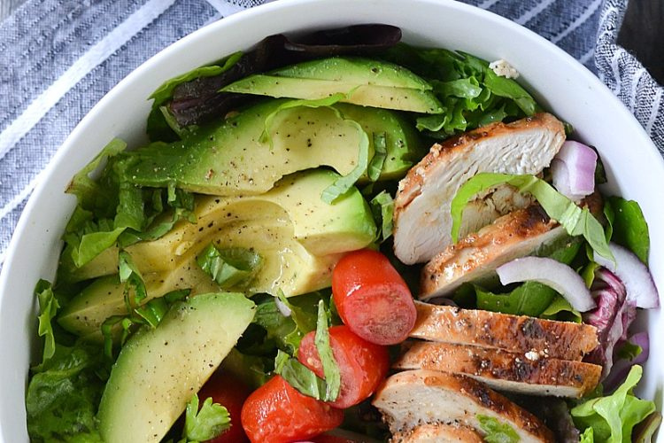 Chicken Avocado Salad with White Balsamic Vinaigrette