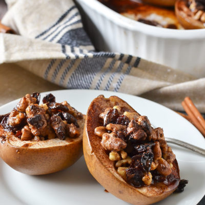 Maple Walnut Baked Pears