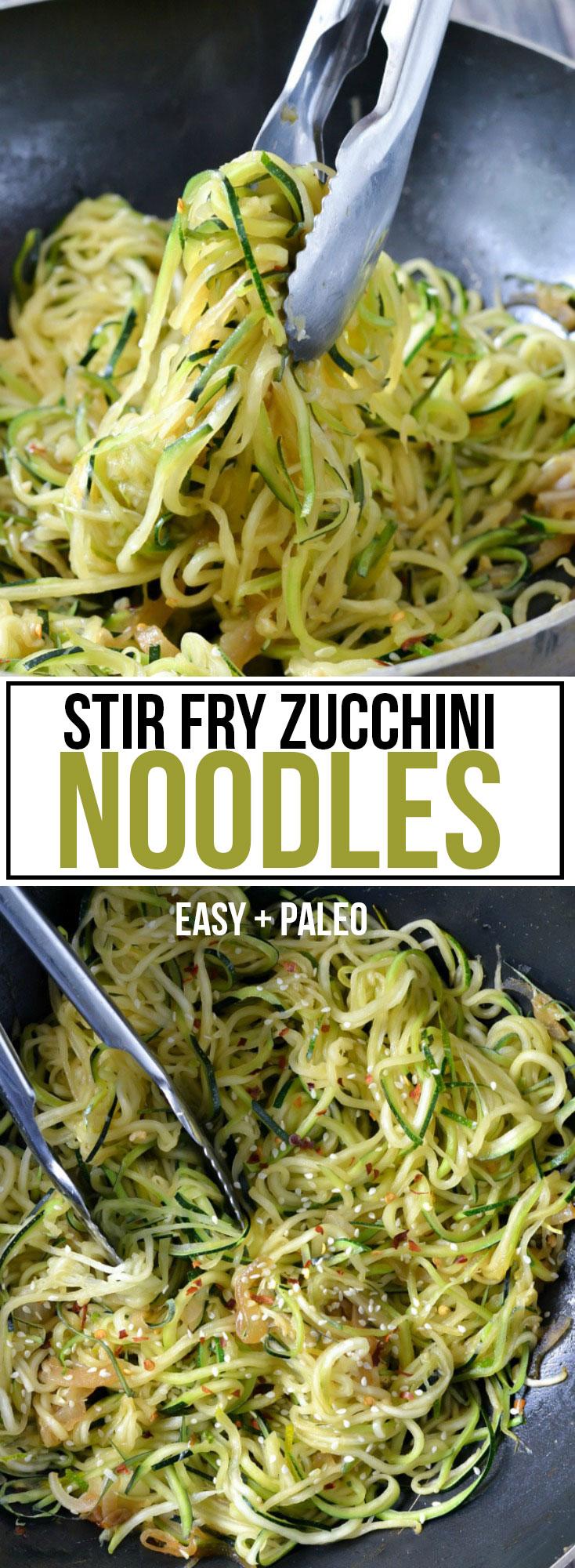 STIR FRY ZUCCHINI NOODLES (EASY + PALEO)